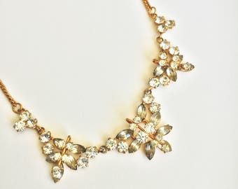 Vintage 1950s Gold Rhinestone Necklace
