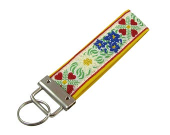 Yellow Key Chain / Key Fob with Bright Cheerful Flowers