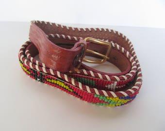 Beaded  red  leather Belt  -  Western Belt - Native Indian Design - size  M