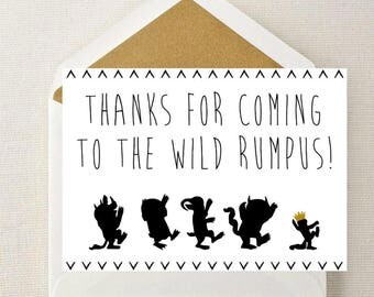 Where the Wild Things Are Favor Tags // Where the Wild Things Are Thank You Cards // Wild Rumpus Thank You Card / Wild Things Cards AND Tags