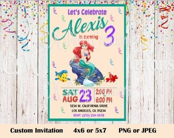 Ariel Birthday Invitations Etsy - Custom ariel birthday invitations