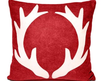 "21"" Antlers Deep Red Large Decorative Wool Throw Pillow, Winter Home Decor, Cabin, Lake House, Reindeer, Christmas, The Salty Cottage"
