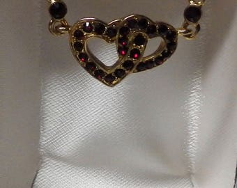 Monet Double Heart Pendant and Necklace Ruby Red Stone