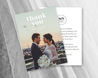 Wedding Thank You Cards PDF Photo Thank You Card Postcard Digital Template
