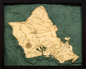 Oahu Wood Carved Topographic Depth Map