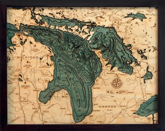 Lake Huron Wood Carved Topographic Depth Map