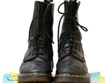 Vintage 90s Black Dr. Martens Boots Size Women 7 1/2 Doc Marten Size 5 UK
