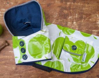 Green Apple Dog Raincoat, you choose fleece or cotton lining, dog coat for girl, dog coat for boy,  dog rain coat, green dog coat