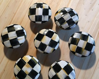 """2"""" wooden hand painted drawer pull/black and white checkered"""