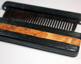 Comb in a box of bog oak 5400 years old and end juniper spits