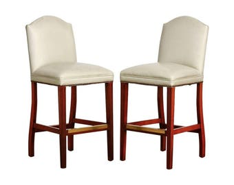 Pair of Oyster Leather High Back Bar Stools