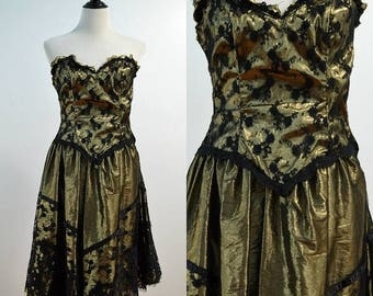 SUMMER SALE 80s Gold Lame Strapless Dress / 1980s Vintage Black Lace Gold Prom Dress / vtg Party Dress / Formal Dress / XS X-Small Small S