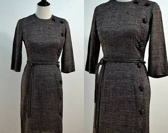 SUMMER SALE 1950s Wiggle Dress / 50s Vintage Military Style Dress / Gray Midi Dress / Small S / Medium M / Side Buttons / 1960s 60s / Pomett