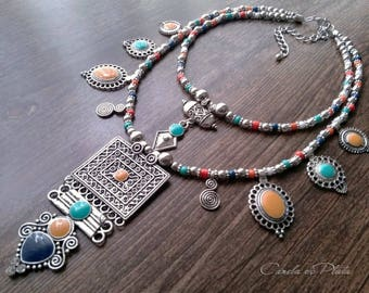 Antique silver ethnic necklace and enamel. Two strand necklace with pendants. Boho necklace