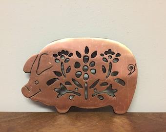 "8.5"" Copper Cast Iron Pig Trivet"