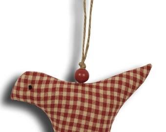 Gingham red hanging bird