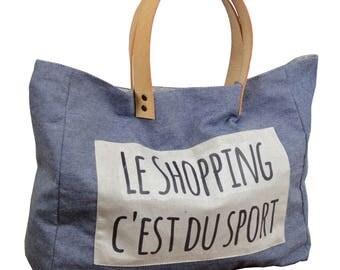 "Handbag ""shopping is sporting"" 100% cotton fabric"