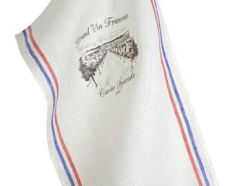 "Towel 45x70cm 100% linen + transfer ""French wine"""
