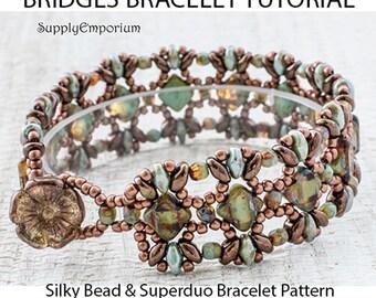 Bridges Bracelet Tutorial, Pattern for Bridges Bracelet by Claire Lee, Silky Bead and SuperDuo Bracelet Tutorial