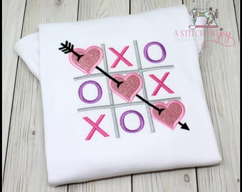 Girl's Valentine Day Shirt or Bodysuit, Valentine Tic-Tac-Toe, Hugs and Kisses XOXO, Valentine Embroidery Applique