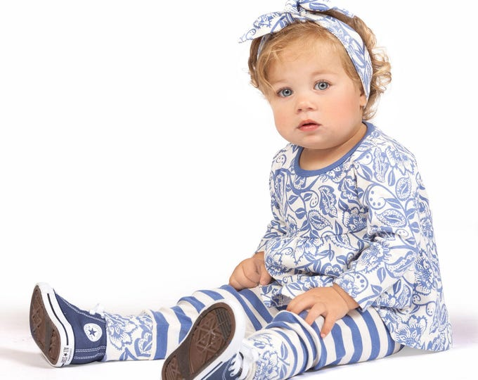 Baby Girl Outfit, Baby Girl Long Sleeve Tunic, Baby Girl Leggings, Blue Floral Girl Outfit, TesaBabe TL180WDIR0000
