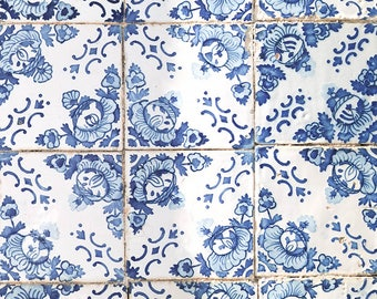 Vintage wall tiles photography, Portuguese azulejos print, abstract photography dark blue print, art print, wall art, home decor, wall decor