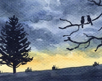 ACEO Original Watercolor Painting-Sunset Landscape with Couple of Birds
