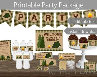 Editable Camping Party Printable Package | Instant Digital Download | Camping Party Pack | Camping Party Decorations | Camping Green Party