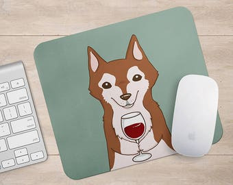 Siberian Husky Drink Coffee / Wine Mousepad, Dog Mouse Pad, Dog Lover Gift Mousepads,Aztec Geometric Funny Laptop Accessories