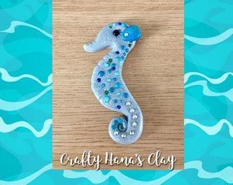 Clay Blue Seahorse Figure   - Mini Clay Figure  - Crafty Hana's Clay