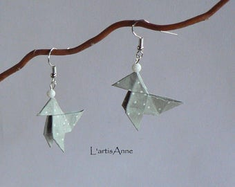 Origami Cranes grey small white dots earrings.