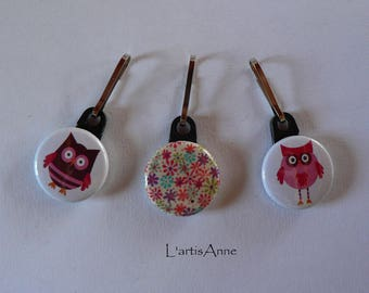 Zipper Zip Strap button zipper set of 3 OWL and Liberty.