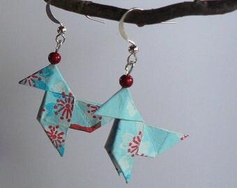 Boucles d'oreilles Origami Cocottes Papier Japonais Rouge.