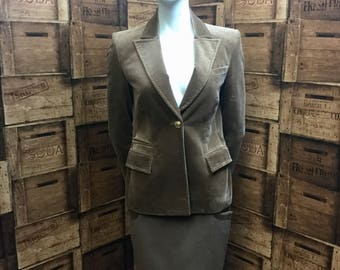 Gianni Versace tan olive skirt suit, Versace suit, skirt suit, velvet jacket, smart outfit, medusa buttons, office suit, vintage suit.