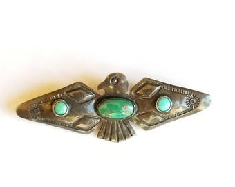 Vintage Sterling Silver and Turquoise Thunderbird Pin Fred Harvey Era Native American Eagle Peyote Brooch