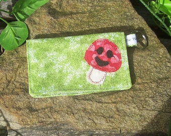 Little Miss Toadstool Business Card Holder Wallet  - Mushroom Fairy Forest - Credit Card Money Purse