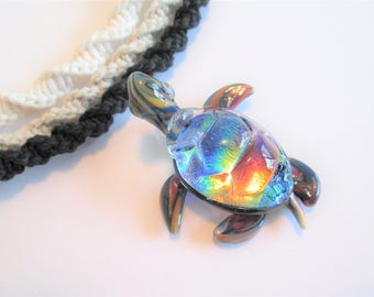 Glass turtle pendant etsy turtle beautiful dichroic glass rainbow turtle pendant on handmade hemp necklace in your choice of mozeypictures Images