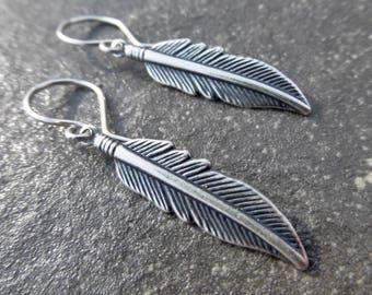 Silver Feather Earrings With Handmade 925 Sterling Silver Ear Wires - Boho - Gypsy - Southwest - Festival - Gift Idea - Everyday Earrings