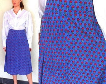 Sale Boho Skirt India Skirt Indian Skirt India Wrap Skirt Vintage 70s India Block Print Skirt