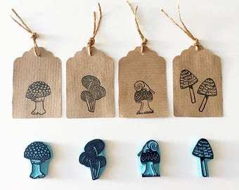 Mushrooms Stamps, Autumn, Rubber Stamps, Autumn Decor, Stamping, Hand Carved