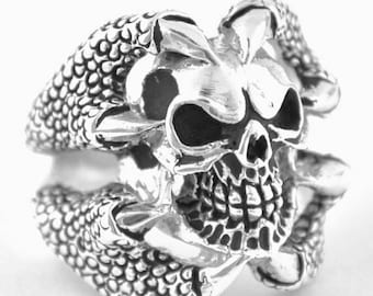 June SALE Sterling Silver 925 Biker Skull Ring Claws Made in USA