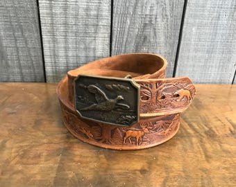 Woodland Creatures Tooled Leather Belt with Solid Brass Buckle