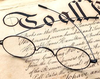 Antique steel eyeglasses spectacles Civil War