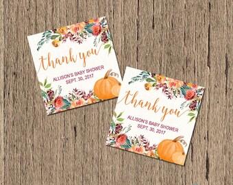 fall baby shower favor tags, pumpkin baby shower favor tags, pumpkin thank you tags, fall thank you tags, printable favor tags, digital