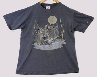 VTG 90s Bunny Rabbit T-Shirt 50/50 - Medium - Wildlife Shirt - Bunnies - Jerzees - VTG - Grey Medium Mens - Vintage Tee - Vintage Clothing -
