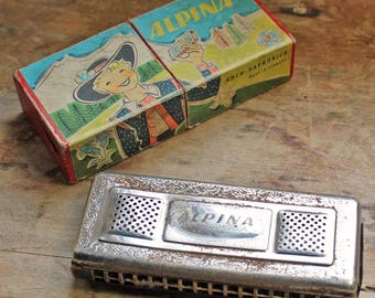 Antique German Koch Harmonica ALPINA/ Vintage toy harmonica with box / Germany Musical Instrument.