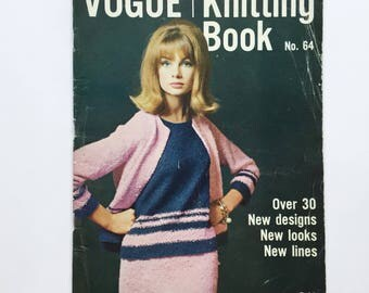 Vintage Vogue Knitting Book number 64, stylish 1960's knitting patterns from 1964, 1960's Vogue patterns, Jean Shrimpton cover