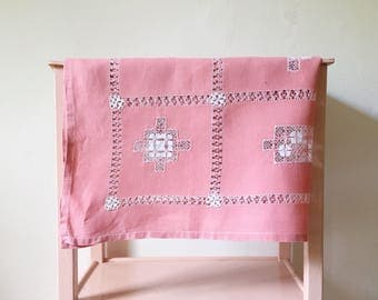 Vintage Pink Tablecloth, Beautiful Linen Tablecloth With Cut Work  Embroidery, Vintage Cutwork Embroidery Tablecloth