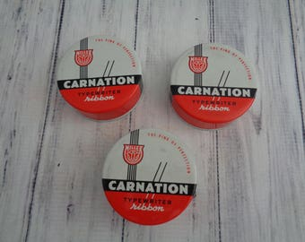 Vintage Carnation Typewriter Ribbon Tin With Spools, Four Available,  Typewriter Advertising Tin, Smith Corona Typewriter Ribbon Tin