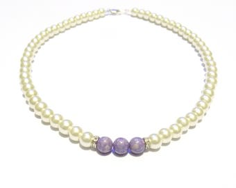 Pearl necklace, necklace, bridal necklace, ivory necklace, beaded necklace, bridal jewelry, purple necklace, riverstone gems